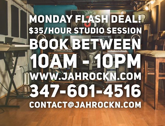 Take advantage of our FLASH DEAL today! Book your session while it's at a low rate for today's promotion! Tell a friend! . . . . #studioflow #studio #musicstudio #musicproducer #musicproduction #recording #studiotime #studiolife #studiodeals #studiospace