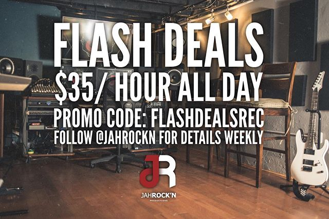 Our FLASH DEAL is back today! 10am - 10pm, book your recording session at a discounted rate!!