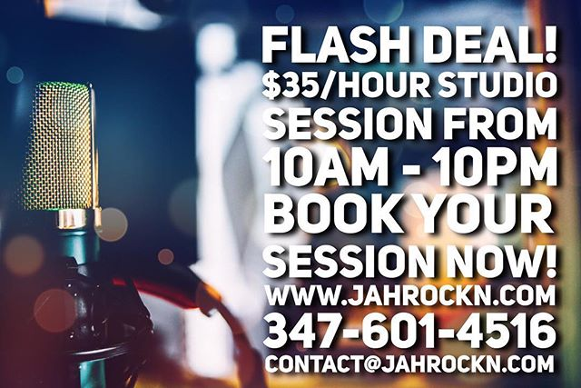 FLASH DEAL TODAY! Take advantage! Tell a friend! Tag an Artist! . . . . #recording #recordingstudio #recordingartist #music #musicstudio #musicproduction #musicproducer #studio #studiotime #newyorkcity #studiosession