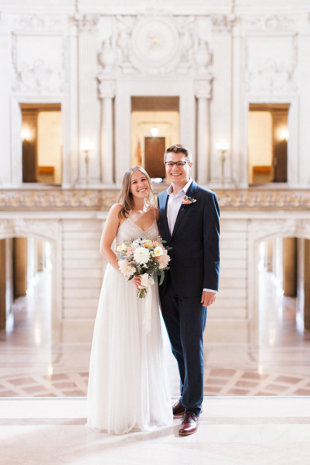 Brandon Sampson Photography. San Francisco City Hall Wedding. Bride and Groom Portrait. Film Photography.