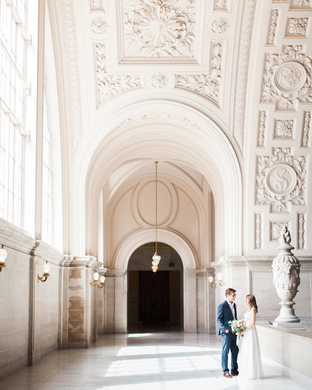 Brandon Sampson Photography. San Francisco City Hall Wedding Portrait. Film Photography.