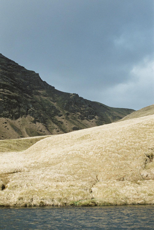 Stormy Hillside Near Skógafoss