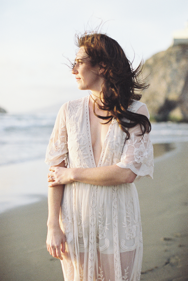 Brandon Sampson Photography. Bridal portrait on Ocean Beach San Francisco. Film Photography.