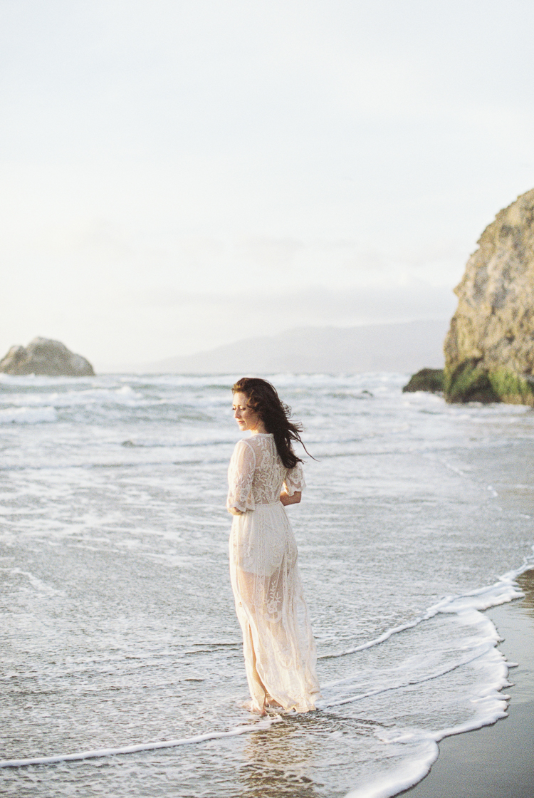 Brandon Sampson Photography. Ocean Beach San Francisco Bridal Portrait in the water. Film Photography.
