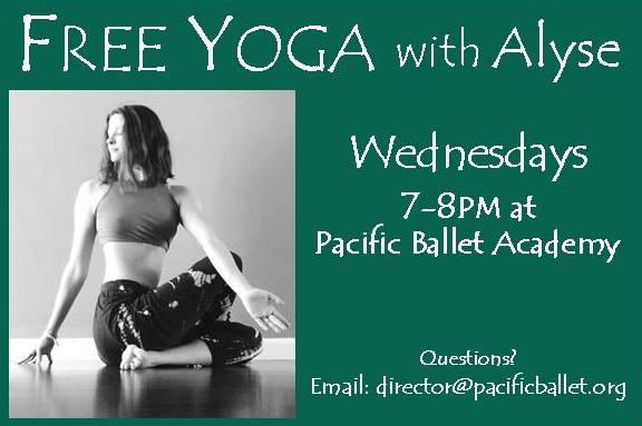 SPECIAL ANNOUNCEMENT!!! This FREE class will introduce the foundational yoga poses and offer many opportunities for students to work on strength, flexibility, and breath work. This class is open to adults as well as Level 6 & 7 students of PBA. This free yoga class will begin on Wednesday, June 14th.