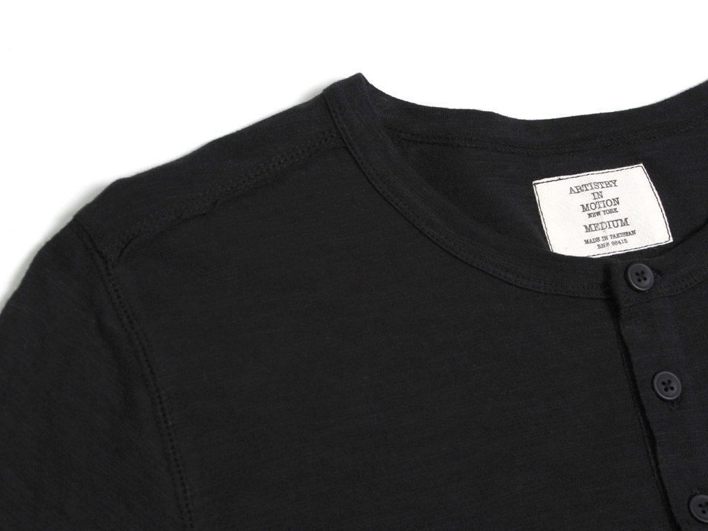 Void LS Crewneck Henley - Black