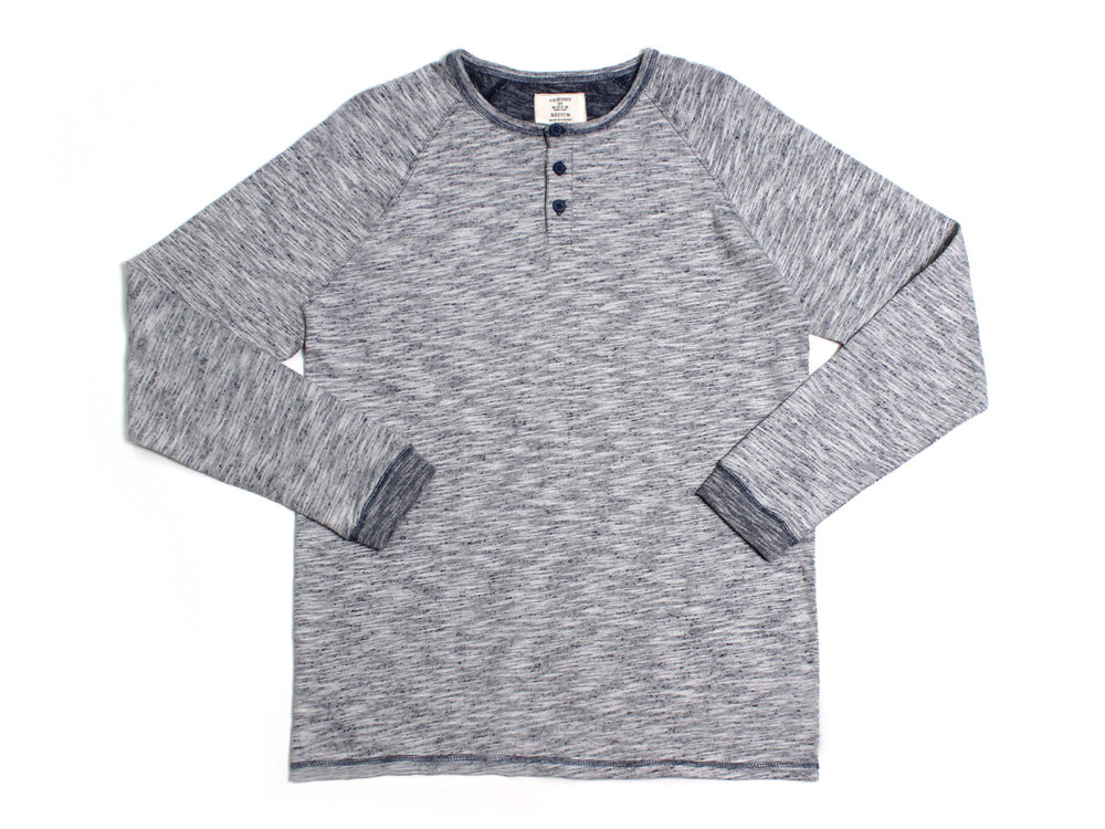 Static LS Henley Raglan - Navy/Off-White