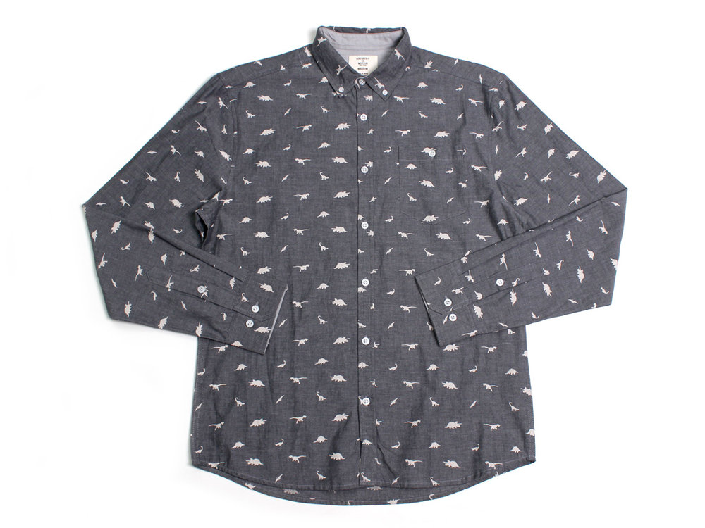 Dinosaurs LS Button Up - Charcoal