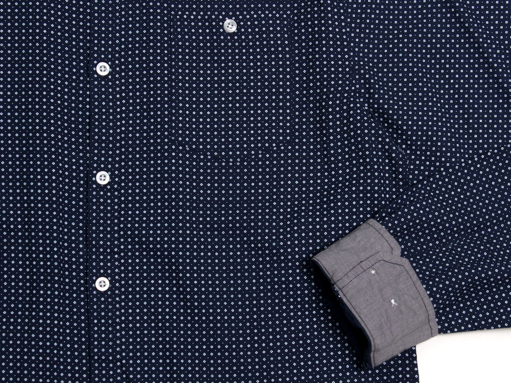 Micro Diamonds LS Button Up - Navy