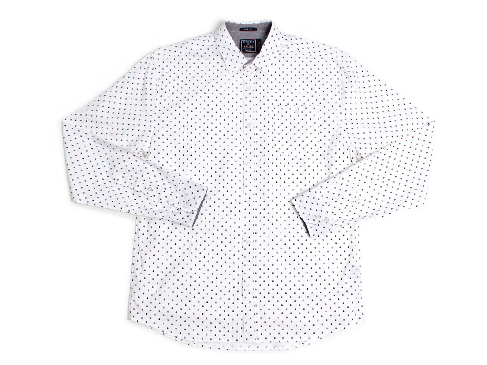 Micro Ghosts LS Button Up - White