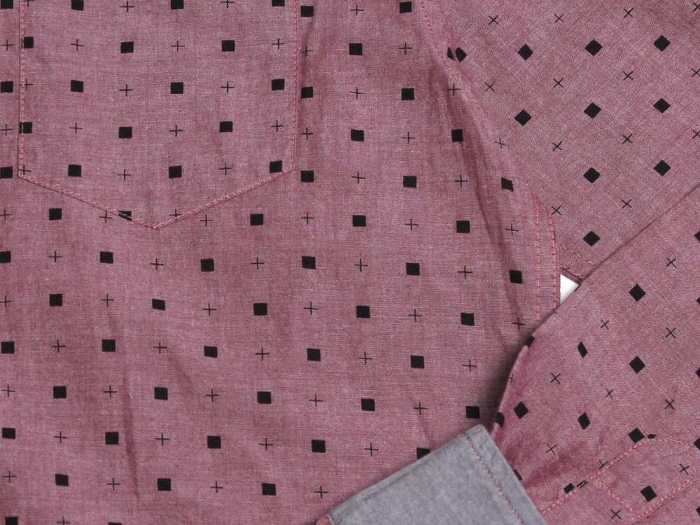 Micro Quads LS Button Up - Pomegranate