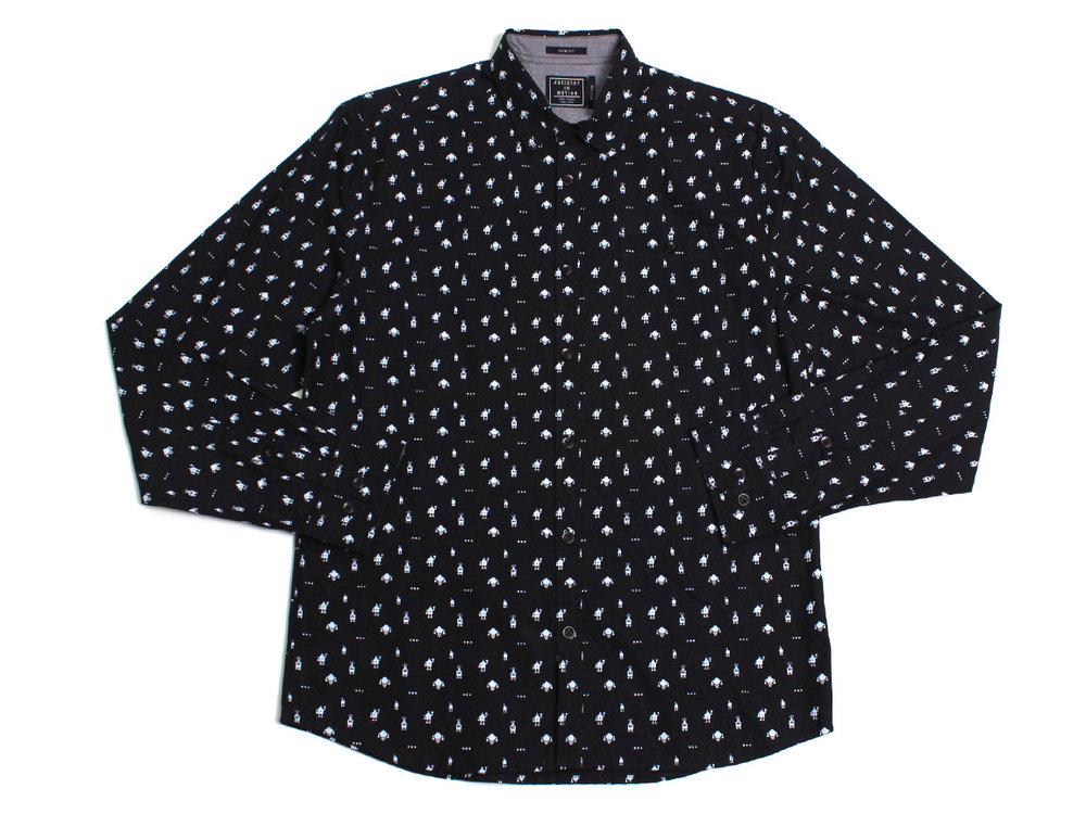 Micro Bots LS Button Up - Black