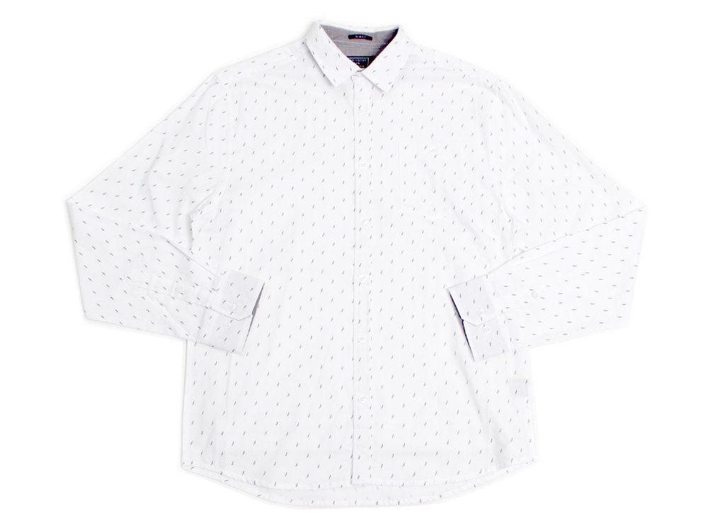 Micro Feathers LS Button Up - White