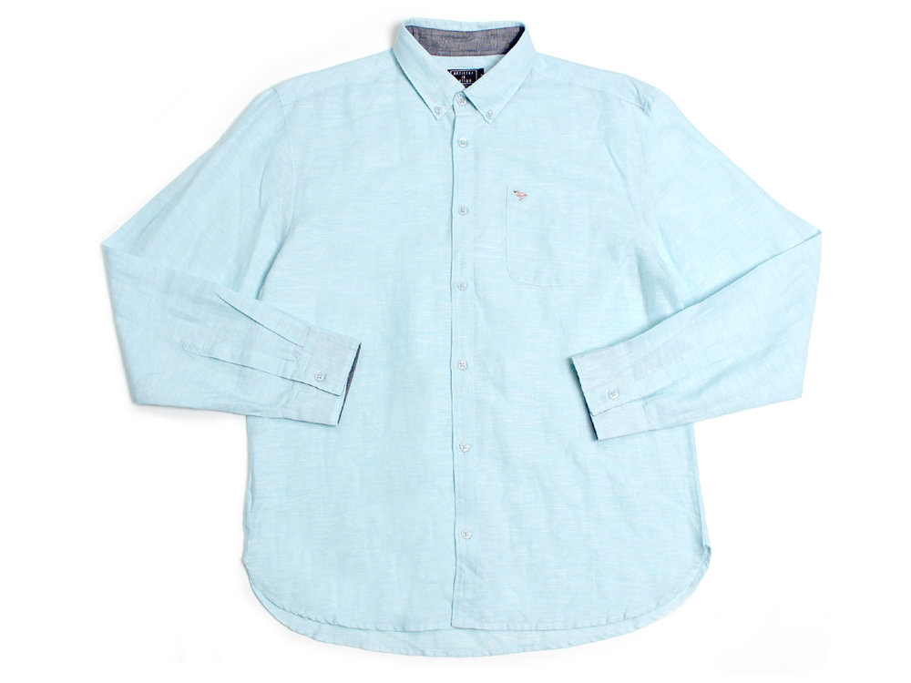 Flamingo Pocket LS Button Up - Light Blue