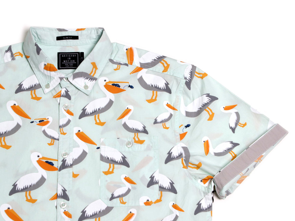 Macro Pelicans SS Button Up - Clearly Aqua