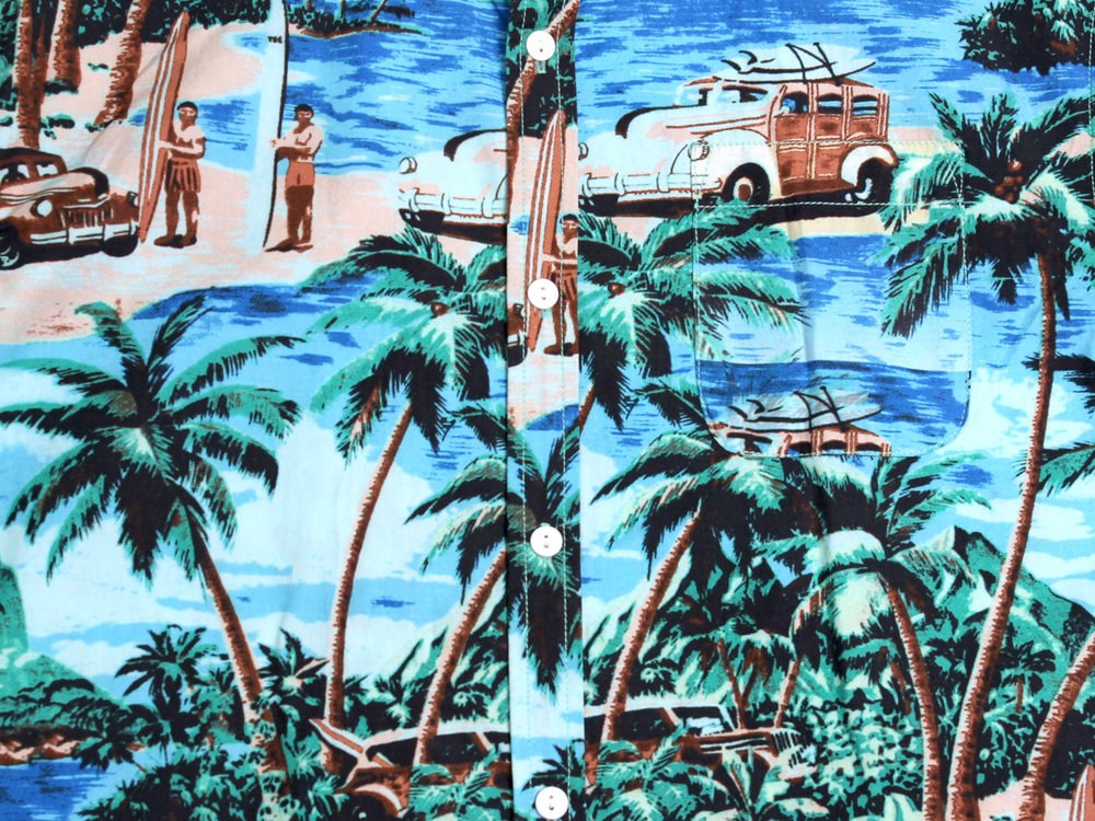Aloha SS Button Up - Light Blue