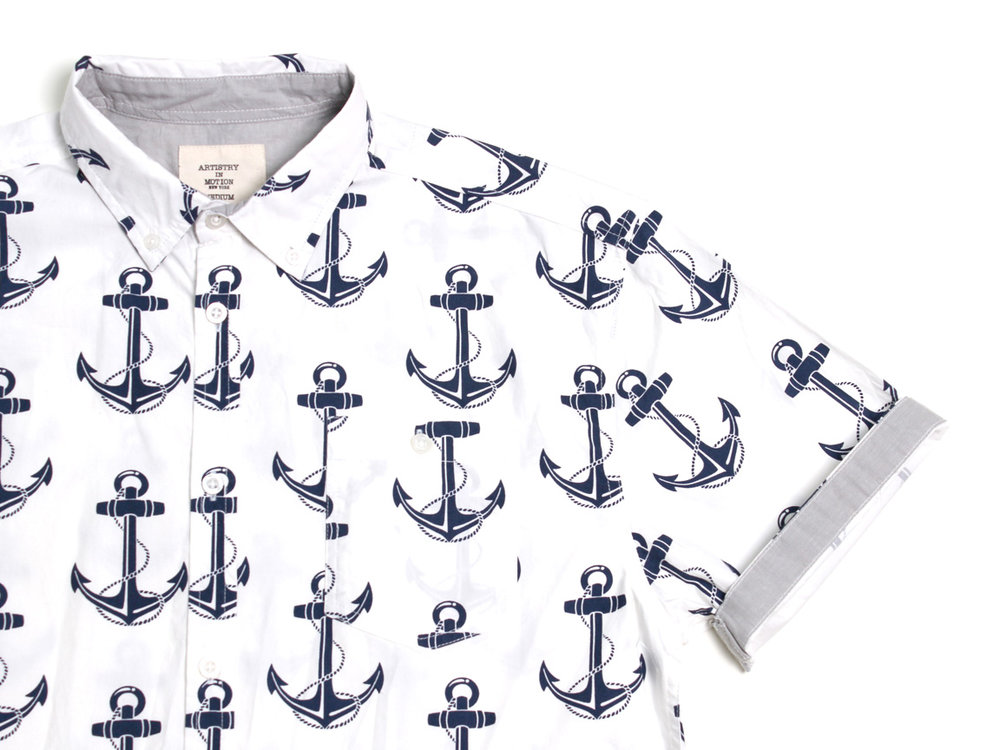 Macro Anchors SS Button Up - White