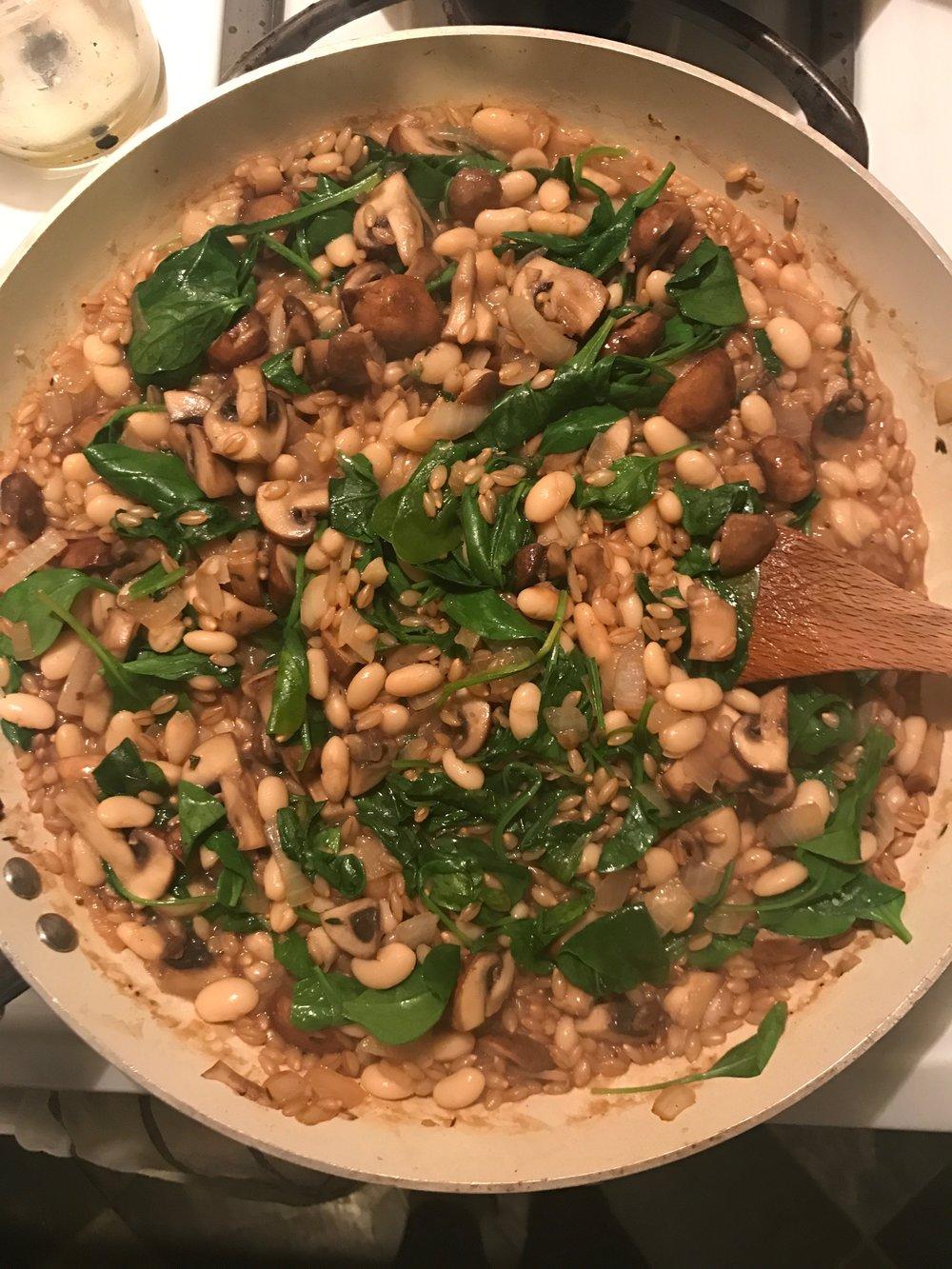 White bean and mushroom barley