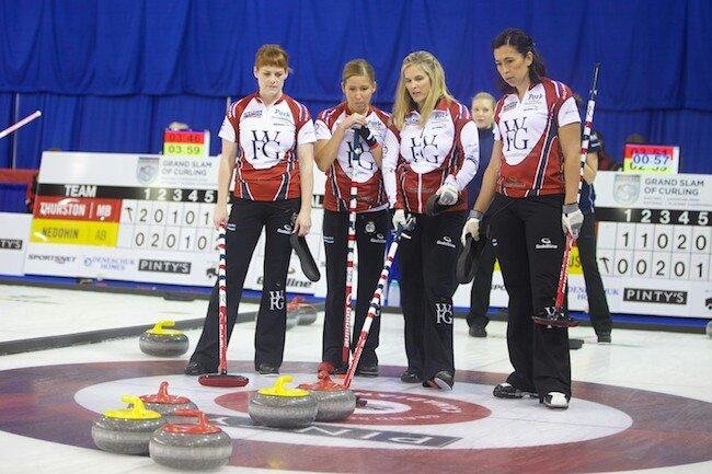 Team Jones at the 2014 Canadian Open, in Yorkton, Saskatchewan. (L to R): Dawn McEwen, Kaitlyn Lawes, Jennifer Jones and Jill Officer. (Anil Mungal/Sportsnet)