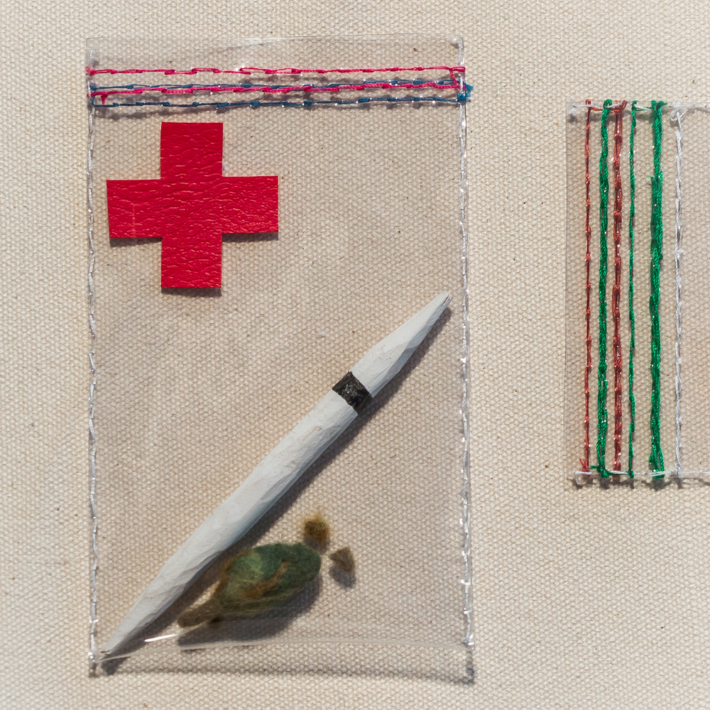 First Aid Joints Vinyl, thread, wood, spray paint, wool 2013