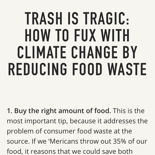 Hello my trashy babies! New #trashistragic up today on the @bostonhassle website, all about how to reduce food waste. Food waste accounts for 8% of global greenhouse gas emissions. US consumers throw out up to 35% of our food. Do u like wasting 35 cents of every dollar spent on groceries? Prolly not! Reducing food waste is simple and sexy. Learn how - link in bio! #foodwaste #zerowaste #climatechange #kaleorgy #drawdown #zeroemissions