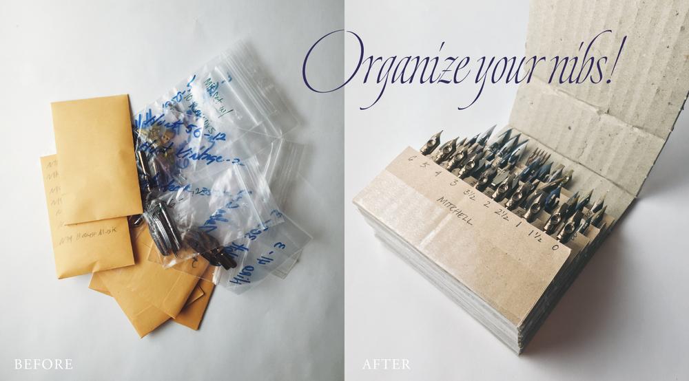 Using corrugated cardboard to create a #calligraphynib organizer | www.idrawletters.com