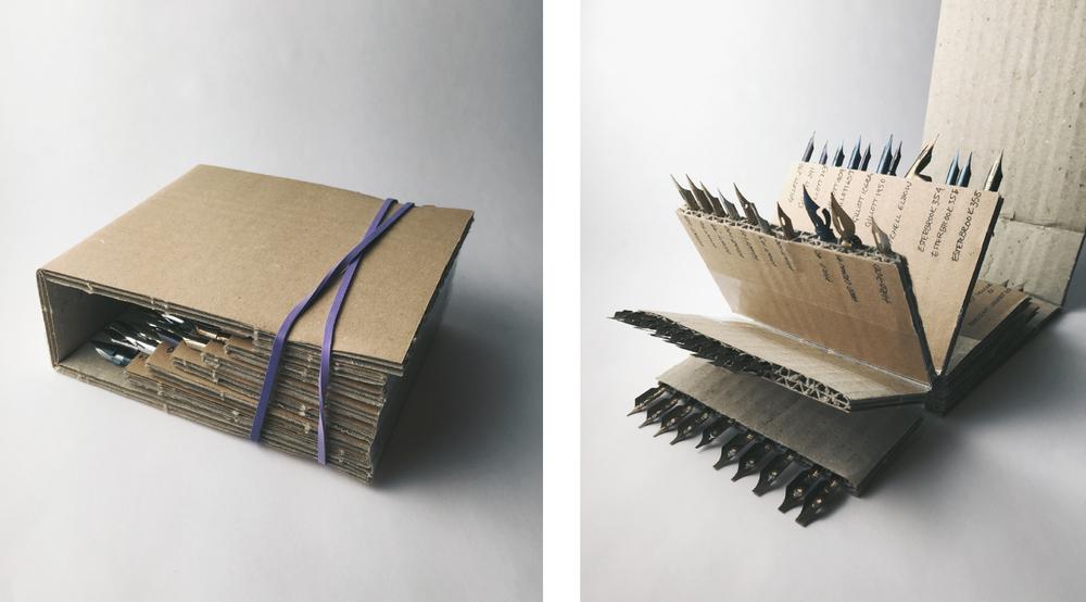Create a cheap and cheerful corrugated cardboard nib organizer! | www.idrawletters.com