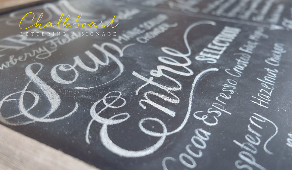 Chalkboard lettering and signage by www.idrawletters.com