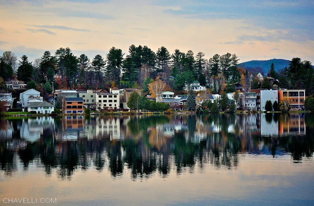 Looking across Mirror Lake near Lake Placid, New York // photo by www.chavelli.com