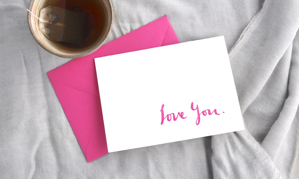 "Handwritten ""Love You"" letterpress printed cards 