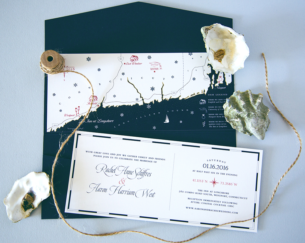 Custom illustrated nautical map of Connecticut for a wedding invitation suite by Chavelli | www.chavelli.com