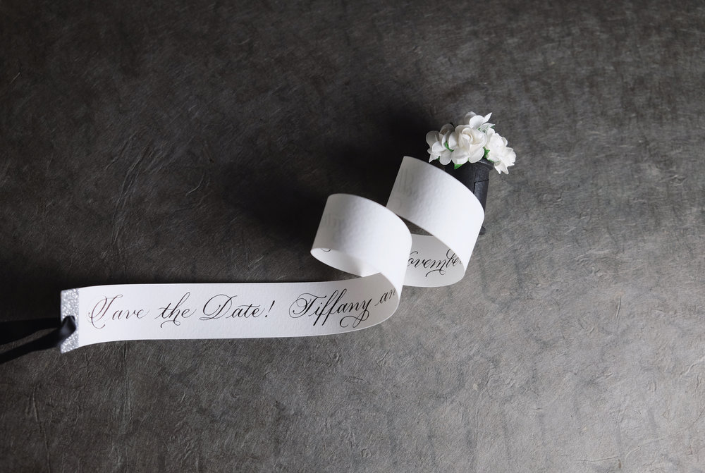 Hand-made and hand-calligraphed tiny scrolls for unique Save the Dates by Chavelli | www.chavelli.com