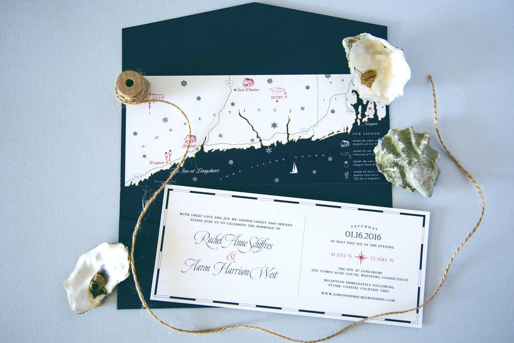 Nautical New England wedding invitation with a custom illustrated map by Chavelli | www.chavelli.com