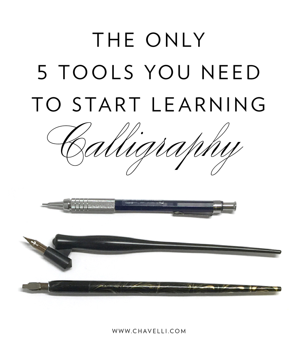 5 basic tools you need to get started learning calligraphy // www.chavelli.com