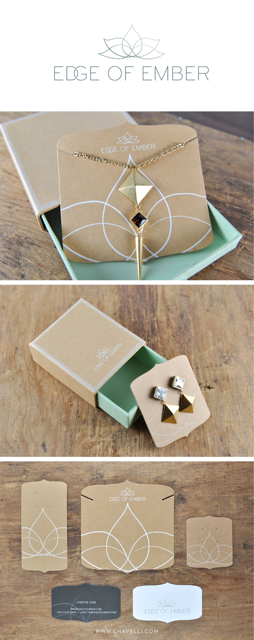 Custom logo design, branding and packaging design for jewelry brand Edge of Ember // by Studio Chavelli www.chavelli.com