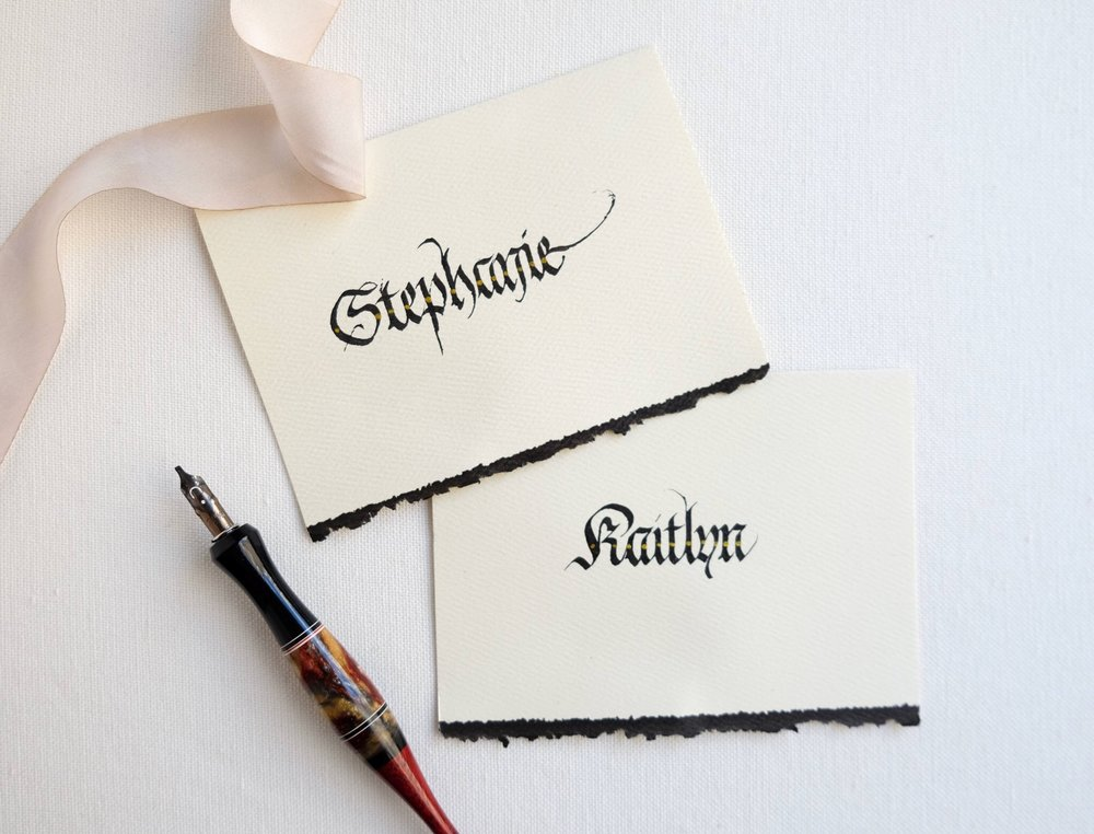 Blackletter place cards with black deckled edges // by Chavelli www.chavelli.com