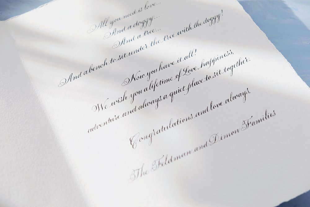 Custom calligraphy for a wedding greeting card // by Chavelli www.chavelli.com