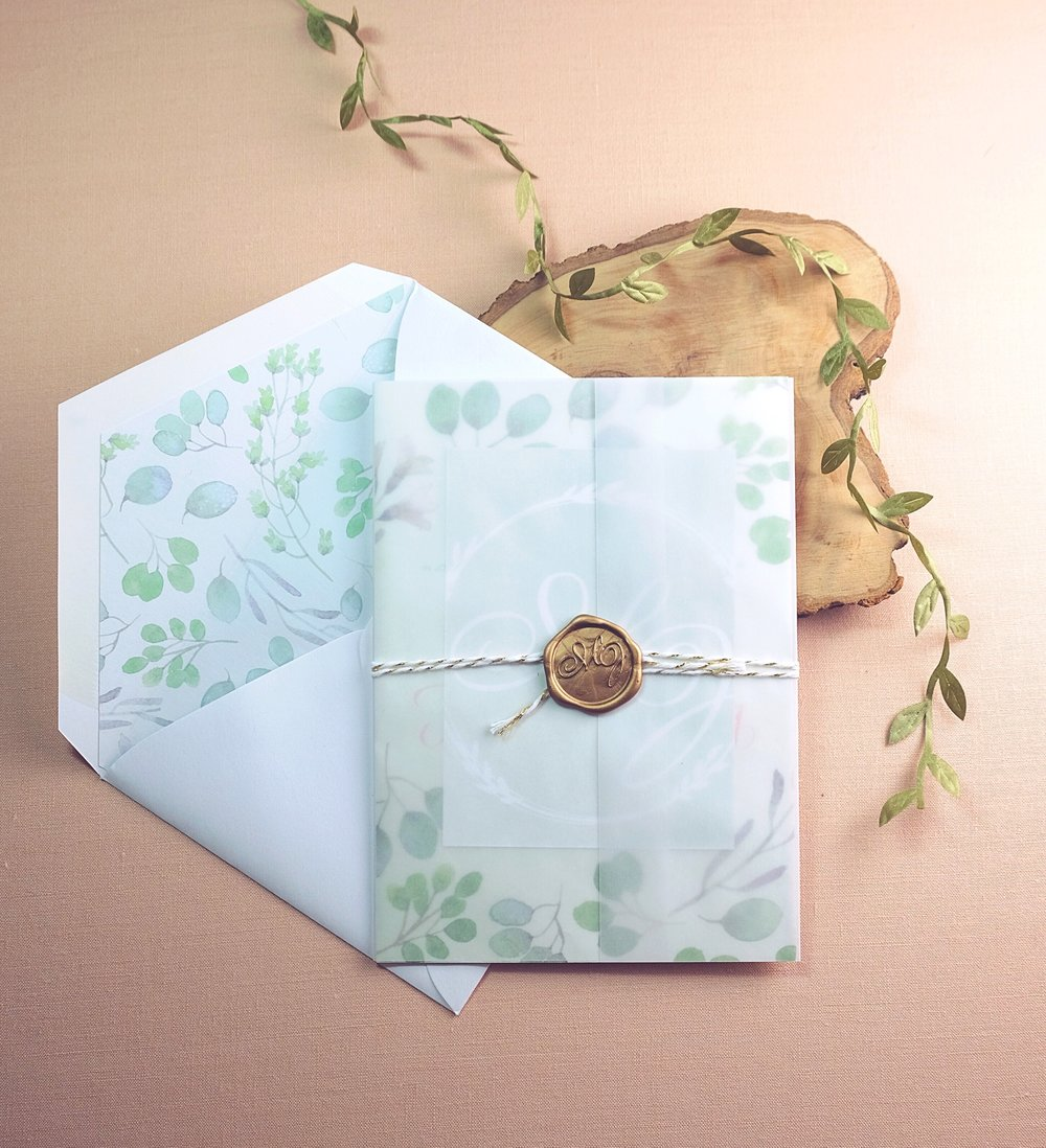 Wedding invitation suite with watercolor florals, envelope liner, custom monogram wax seal // by Chavelli www.chavelli.com
