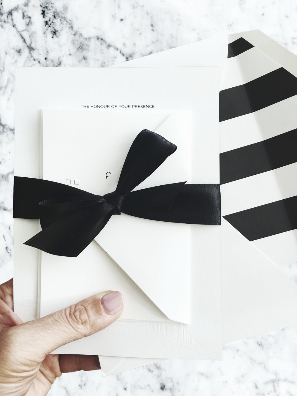 Black and white wedding invitations for a sophisticated New York City wedding // by Chavelli www.chavelli.com