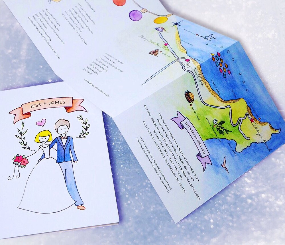 Custom wedding invitation with cheeky illustrations and hand-drawn map // by Chavelli www.chavelli.com