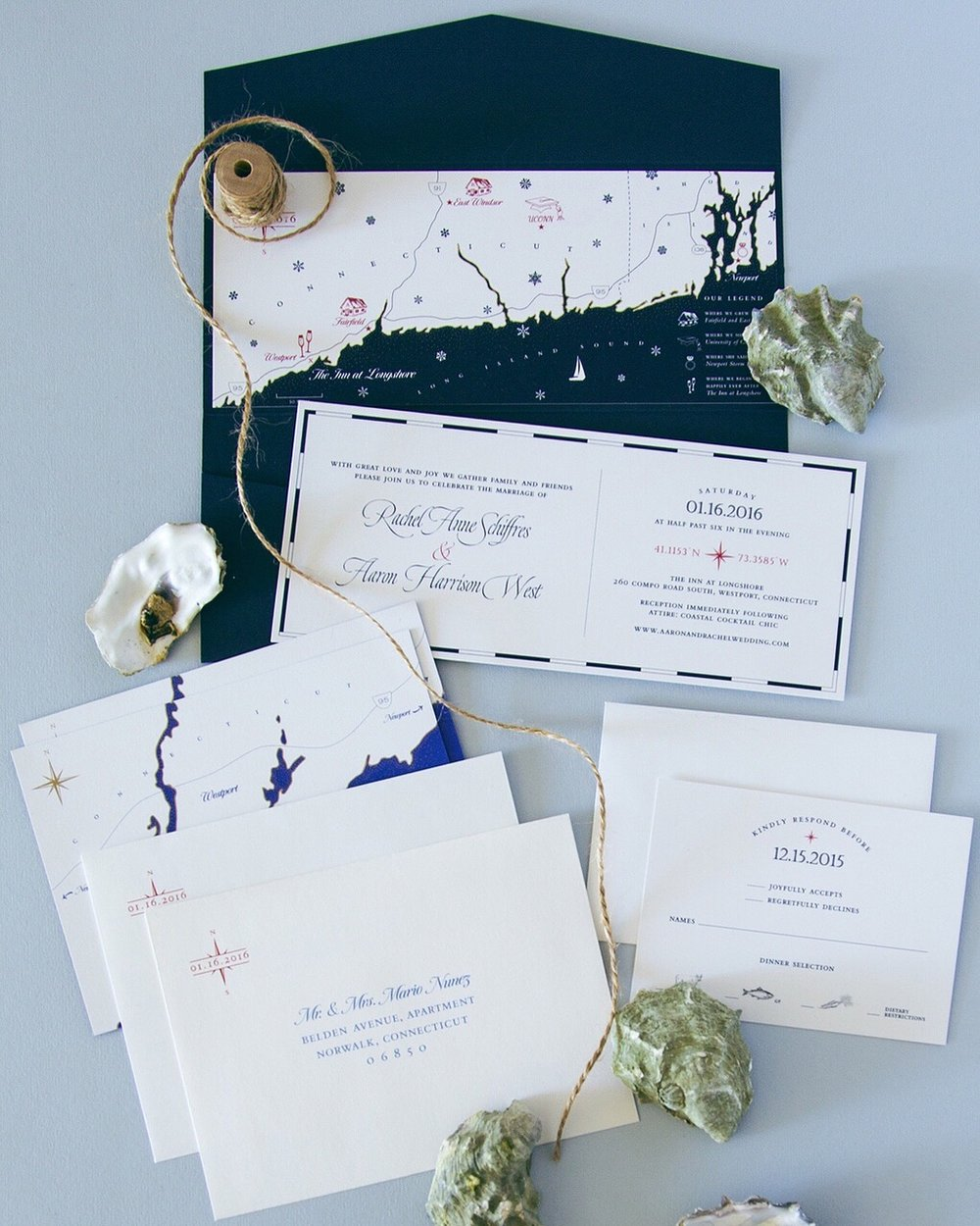 Nautical wedding invitation suite with custom illustrated map // drawn and designed by Chavelli www.chavelli.com // photo by Jenny Huang www.huang-jenny.com