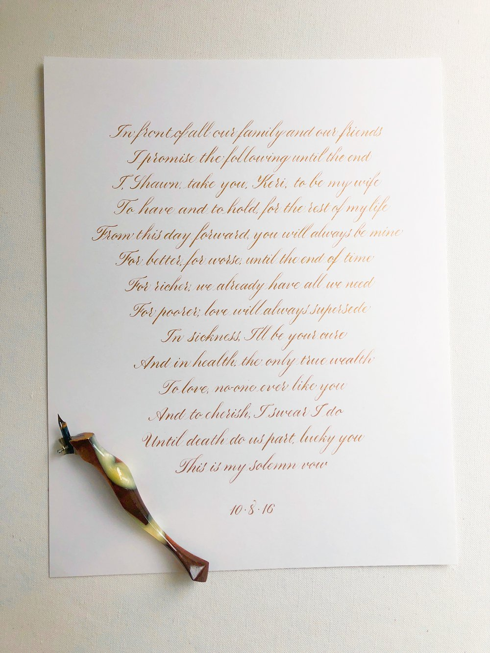 Wedding vows in copperplate calligraphyby Chavelli // www.chavelli.com