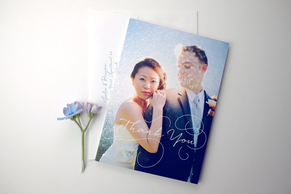 Custom wedding Thank You card designed by Chavelli // www.chavelli.com // photograph on the Thank You card by Rebecca Arthurs