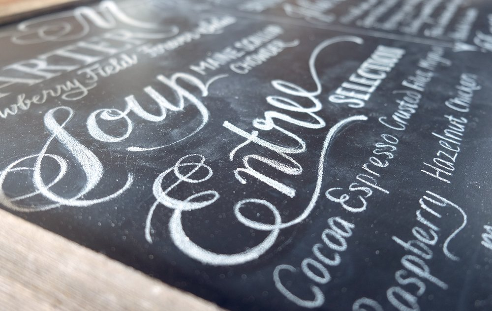 Hand-lettered wedding chalkboard menu // design and lettering by Chavelli www.chavelli.com