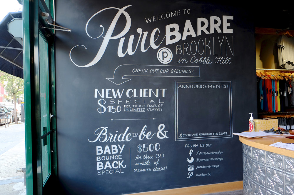 Custom lettered chalkboard mural for Pure Barre Brooklyn // designed and lettered by Chavelli www.chavelli.com