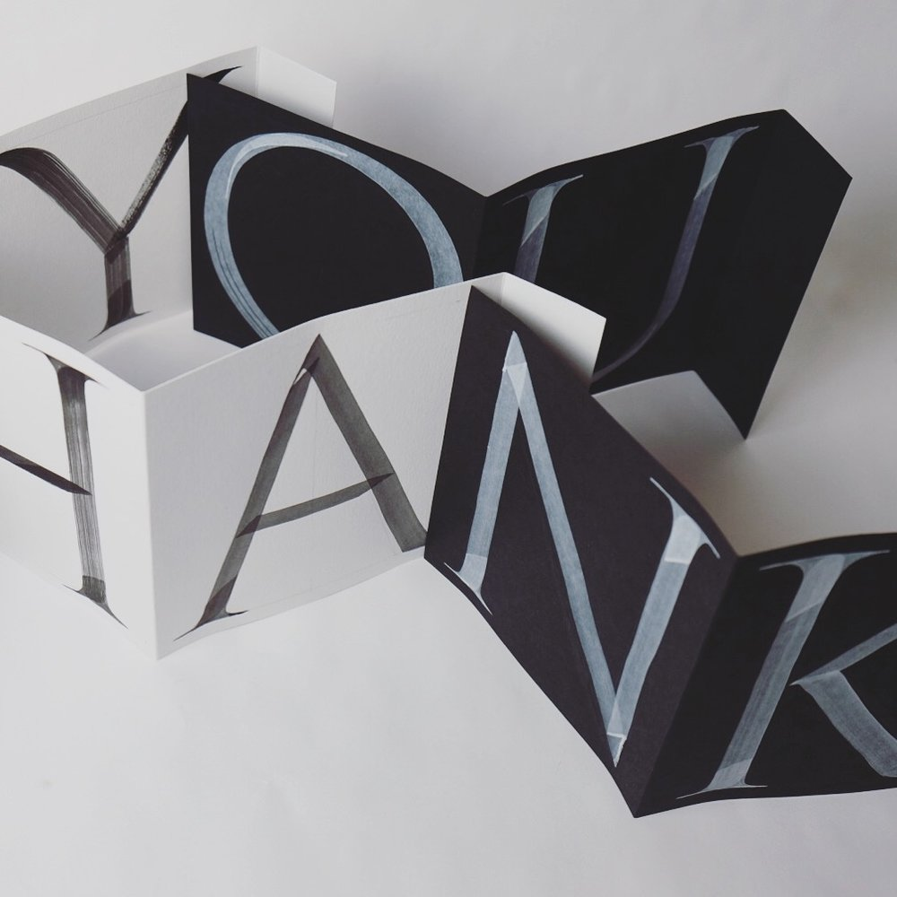 Accordion thank you card in brush roman capitals // by Chavelli www.chavelli.com