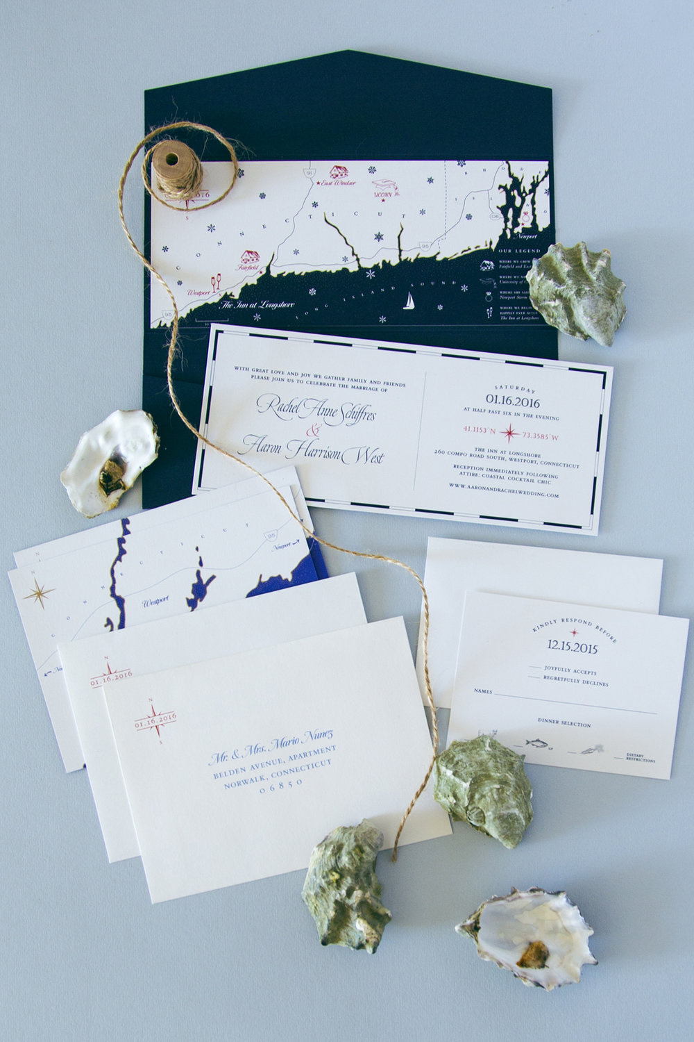 Nautical themed wedding invitation suite with custom drawn map // by Chavelli www.chavelli.com