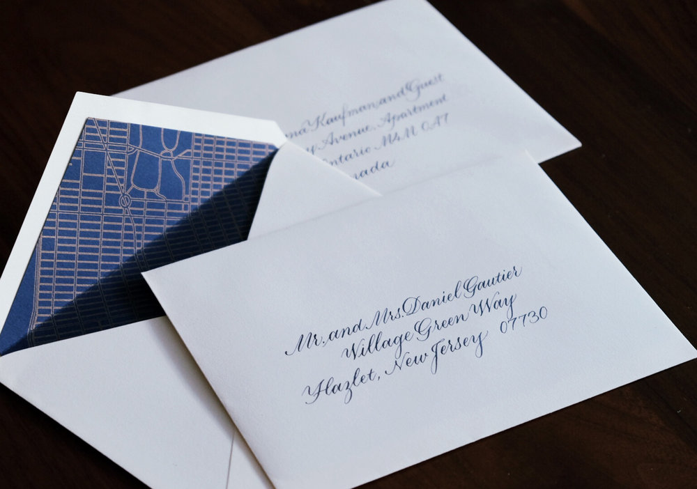Classic copperplate calligraphy envelope addressing // www.chavelli.com