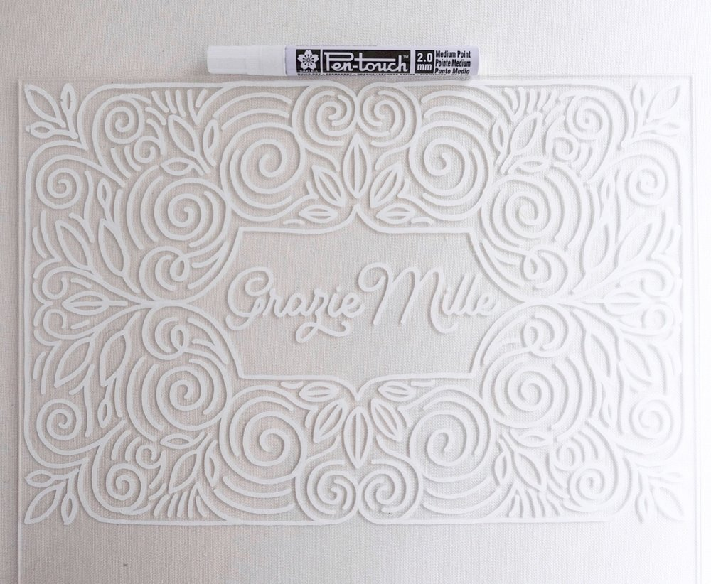 Monoline hand-drawn pattern and lettering for a wedding Thank You sign // by Chavelli www.chavelli.com