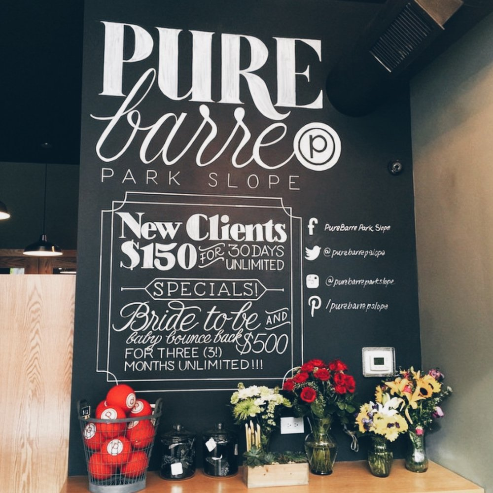Hand-lettered wall mural at Pure Barre Park Slope in Brooklyn // designed and lettered by Chavelli www.chavelli.com